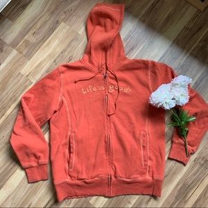 Life is good orange zip up hoodie